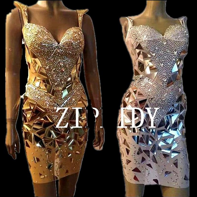 Silver Gold Bling Sequins Rhinestones Sleeveless 3 Colors Mesh Dress Women s Birthday Outfit Women Singer