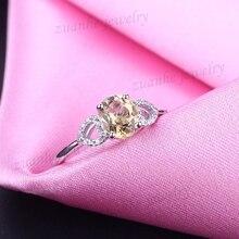 6x8mm Oval Cut Natural Citrine Diamondd Solid 14k White Gold Ladies Engagement Wedding Ring Elegant