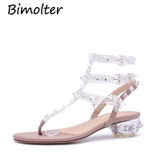 Bimolter new gladiator sandals woman transparent crystal chunky heel rivets sandalias wedding shoes summer NC081