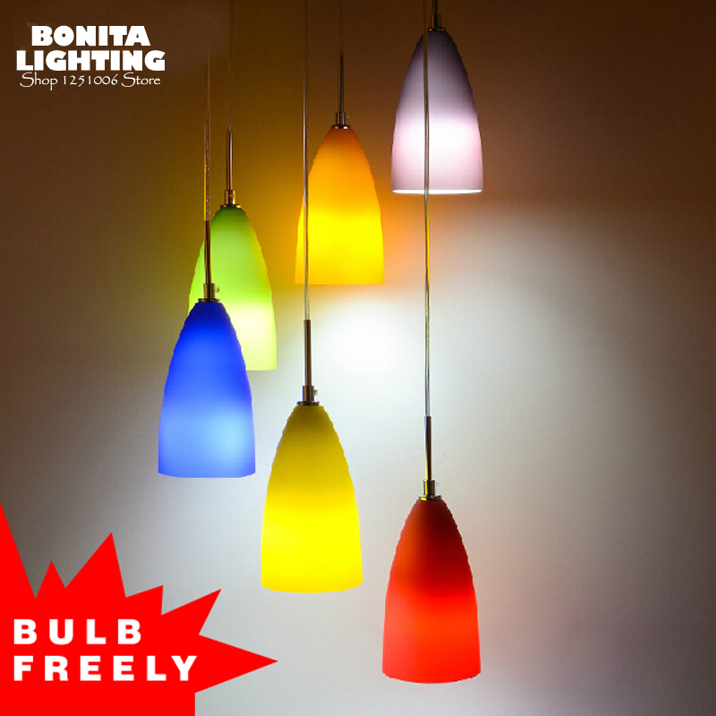 Verre givré pendentif éclairage pour restaurants moderne Simple arc-en-ciel design lampe pendentif éclairage fruits coloré pendentif lampe