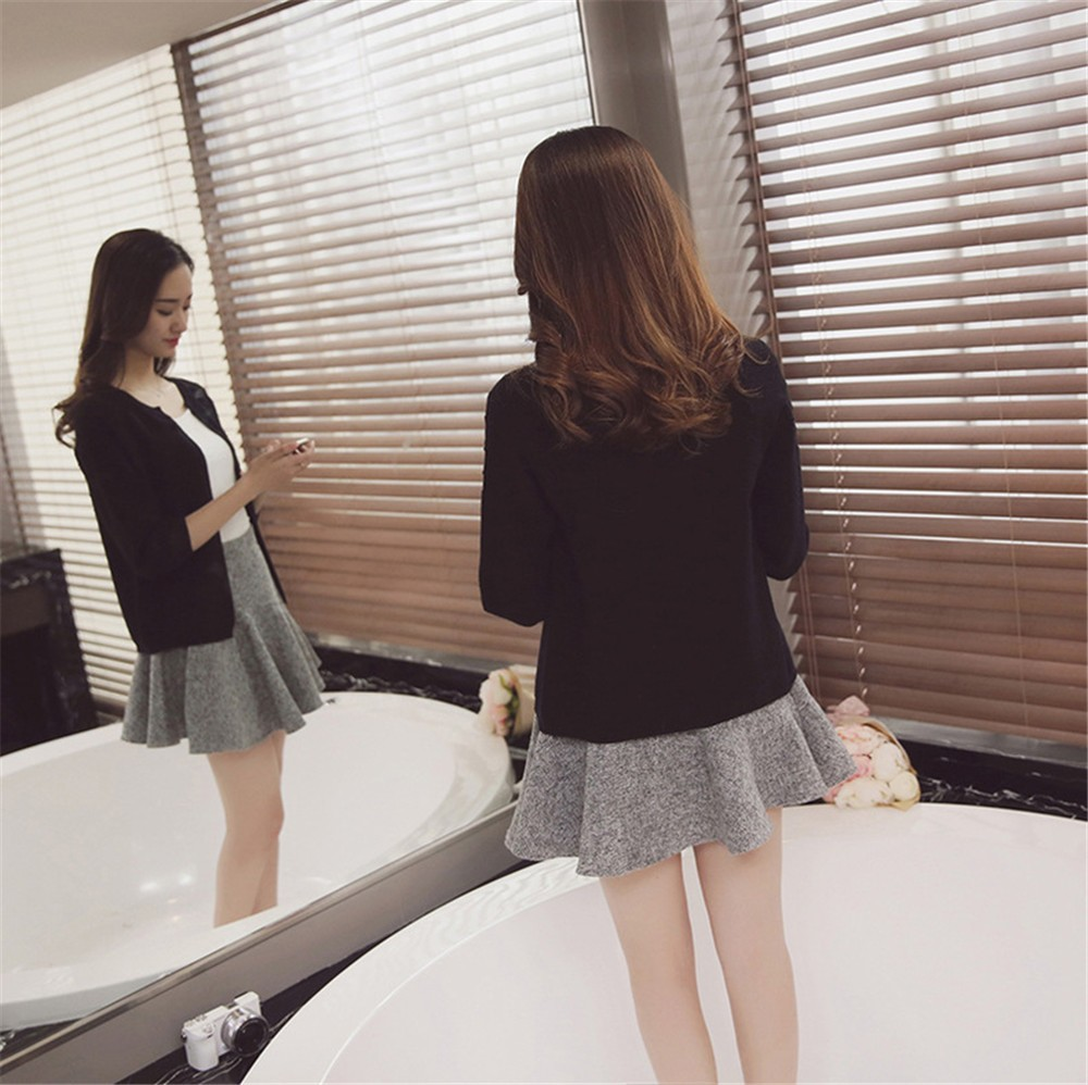 2016 Spring&Autumn Casual Sweater Women Cardigan Sweater Solid Color Open Stitch Women\'s Cotton Knitted Outerwear Sweater (16)