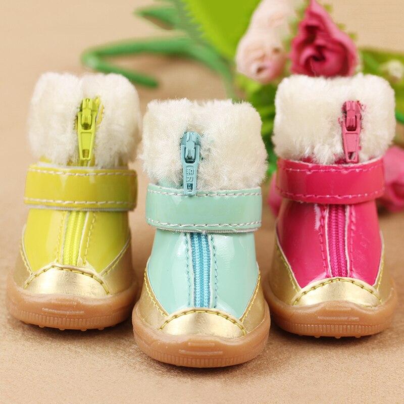 98059b69540 компл. милые кожа отдыха Собака Щенок Тедди зимние теплые ботинки обувь 5  размеров Прямая доставка