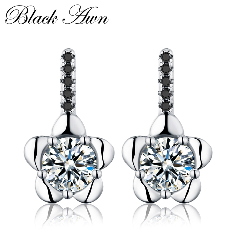 Romantic 100% Genuine 2g 925 Sterling Silver Jewelry Black&White Stone Flower Engagement Stud Earrings For Women T077