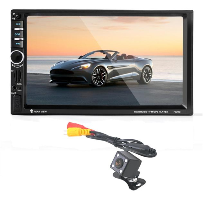 7 HD Bluetooth Touch Screen Car GPS Stereo Radio 2 DIN MP5/MP3/USB/AUX+ Camera 7021g 2 din car multimedia player with gps navigation 7 hd bluetooth stereo radio fm mp3 mp5 usb touch screen auto electronics