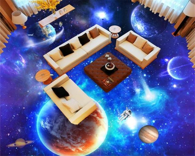 Beibehang Star Galaxy Universe 3D Boden Hoch Fliesen Fliesen Malerei  Schlafzimmer Badezimmer 3D Boden PVC Rutschfeste