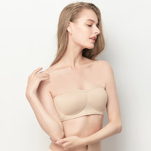Non-slip tube top underwear women's thin section gathered wrapped chest strapless wedding dress without steel ring bra(China)
