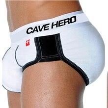 Cavehero sexy хлопок мужчины боксеры бум лифт панталоны underwear with padded в обратно