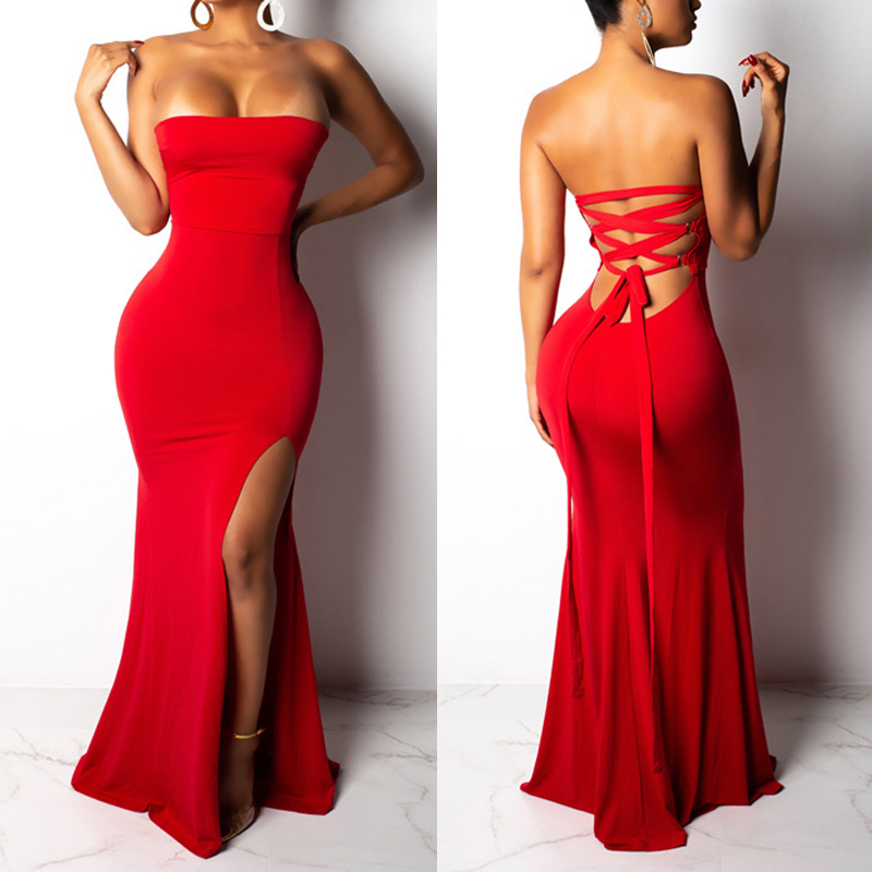 Bandage <font><b>Sexy</b></font> Bodycon <font><b>Dress</b></font> Party Night <font><b>Club</b></font> <font><b>Wear</b></font> <font><b>Dress</b></font> Split Backless Autumn Strapless Slim <font><b>Dresses</b></font> Vestido image