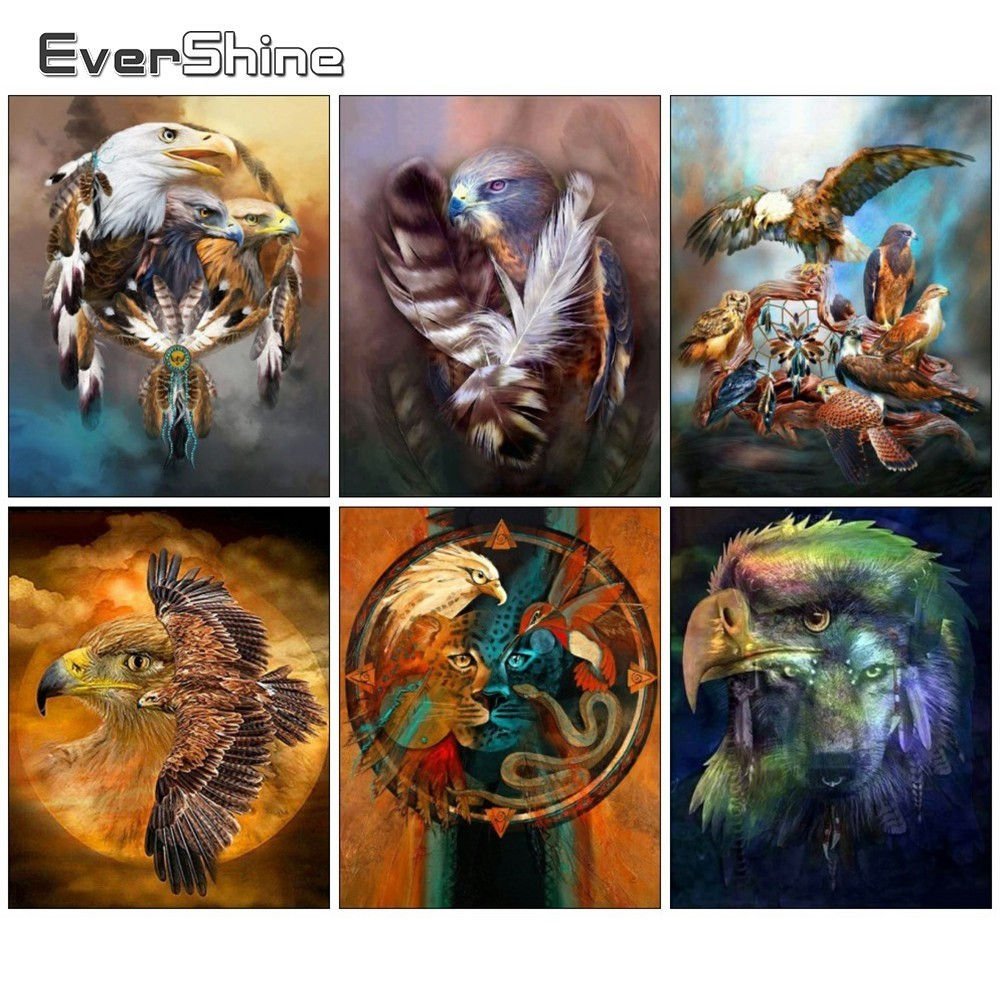 EverShine DIY Diamond Embroidery Animals Handmade 5D Full Round Diamond Painting Cross Stitch Eagle Pictures Of Rhinestones