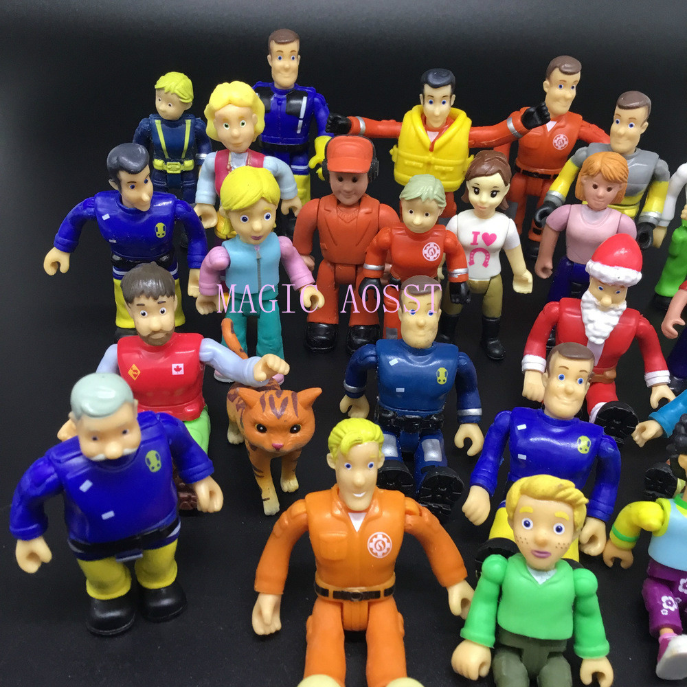 10Pc/20Pcs/set Original Small Joint Movable Fireman Sam Action PVC Action Model Toy
