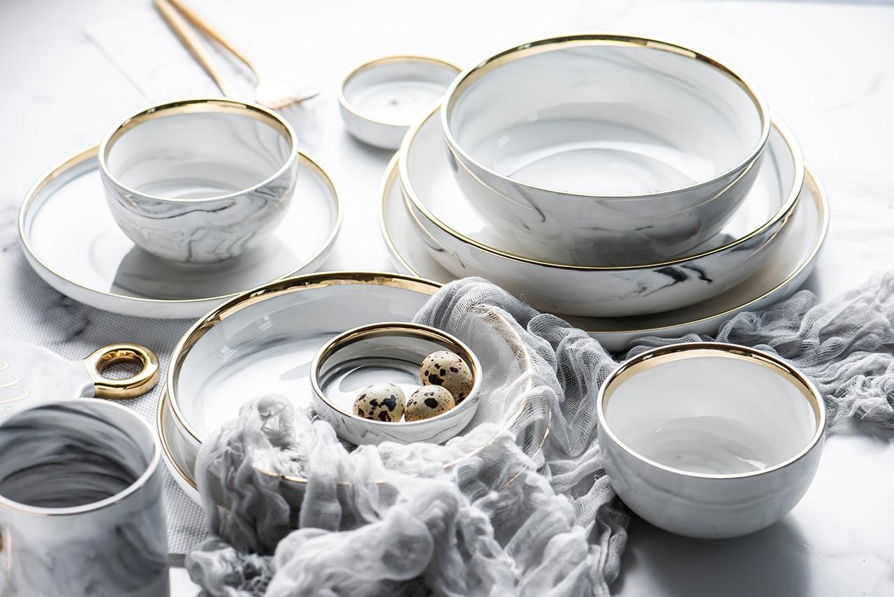 1pc glod mármore cerâmica jantar prato de