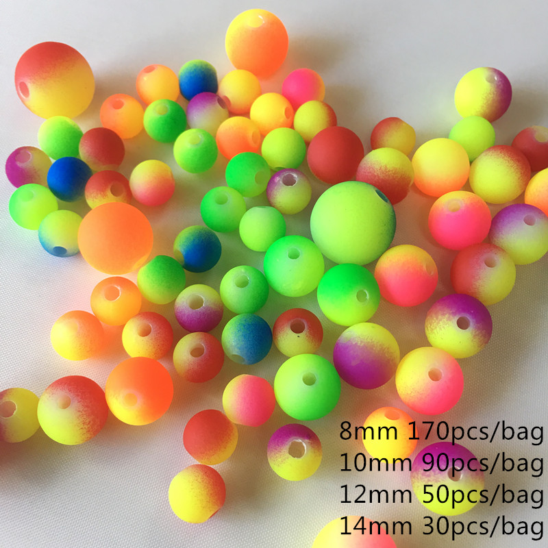 Meideheng Kids DIY Fluorescent Beads Rainbow colour mixture Monochrome Children's necklace jewelry accessories making 8-14mm