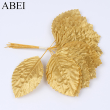 24pcs/lot Gold Leaf For Wreath Garland DIY Artificial Silk Leaves for Wedding Party Home Decoration Handmade Accessories