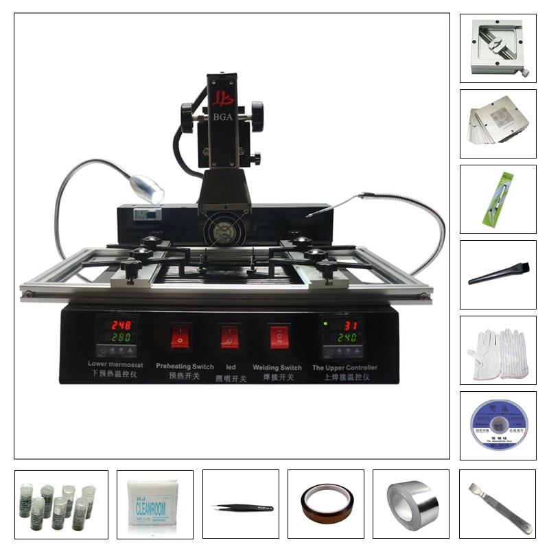 Infrared SMT SMD Rework Soldering Stations M770 BGA Repair Machine with 184pcs 80MM 90MM stencils ly m770 infrared bga rework station 220v with bga reballing kit 184pcs 80 90mm bga stencils