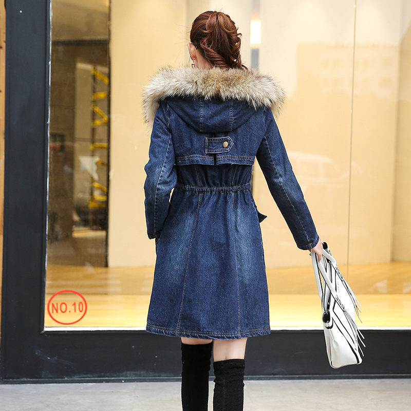 Denim Jacket Winter Women   Parka   New Lambwool Coat New Loose Thicken Big Fur Collar Patchwork Warm Overcoat Female   Parka   QW714