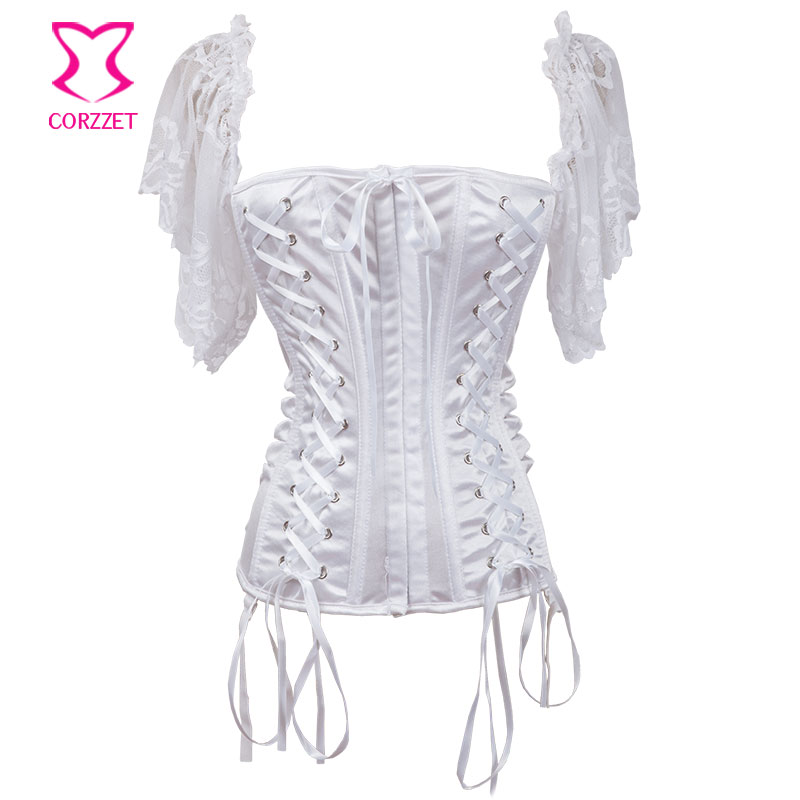 White Slash Neck Lace Up Front Bodice Sexy   Corset   With Lace Straps Corselet Victorian   Corsets   and   Bustiers   Wedding Lingerie