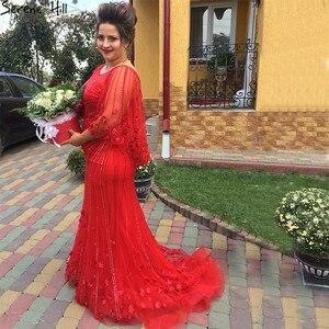 Image 2 - Женское вечернее платье с юбкой годе, красное платье с кристаллами и бисером, модель LA6135, 2020