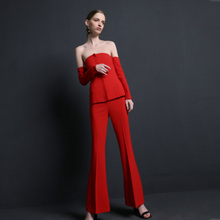 High quality women suits pants suit  office lade 2 pieces jacket trousers red elegant