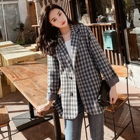 Temperament Retro Checked Single breasted Small Jacket Women 2019 100 Sets of Loose Ol Short Suit Women Blazers and Jackets