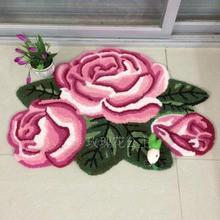 80 см* 60 см, 3 розы, розовый коврик ручной работы для ванной, Цветочный Коврик, противоскользящий задний коврик, для девочек, для спальни, коврики, коврик для двери