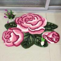 80cm 60cm 3 Rose Rug Pink Handmade Bath Mat Floral Rug Anti Slip Back Mat Girls