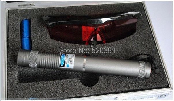 AAA NEW Strong flashlight 10000mW/10W Blue laser pointer 450nm burning match/dry wood/black/cigarettes+Glasses+Charger+gift box