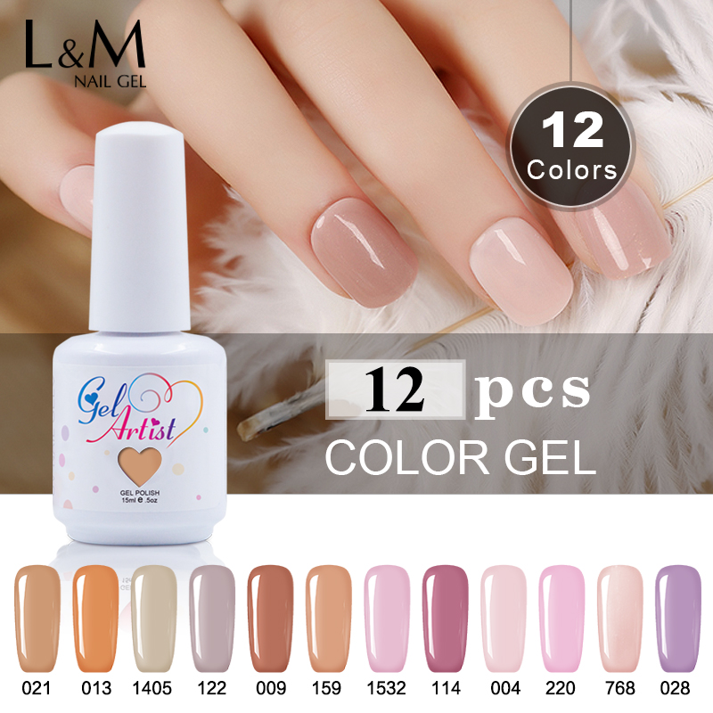 12 Pcs Lot Gelartist Brand 15ml Nails Color Gel Polish Top Base Coat Artist Gel Varnish
