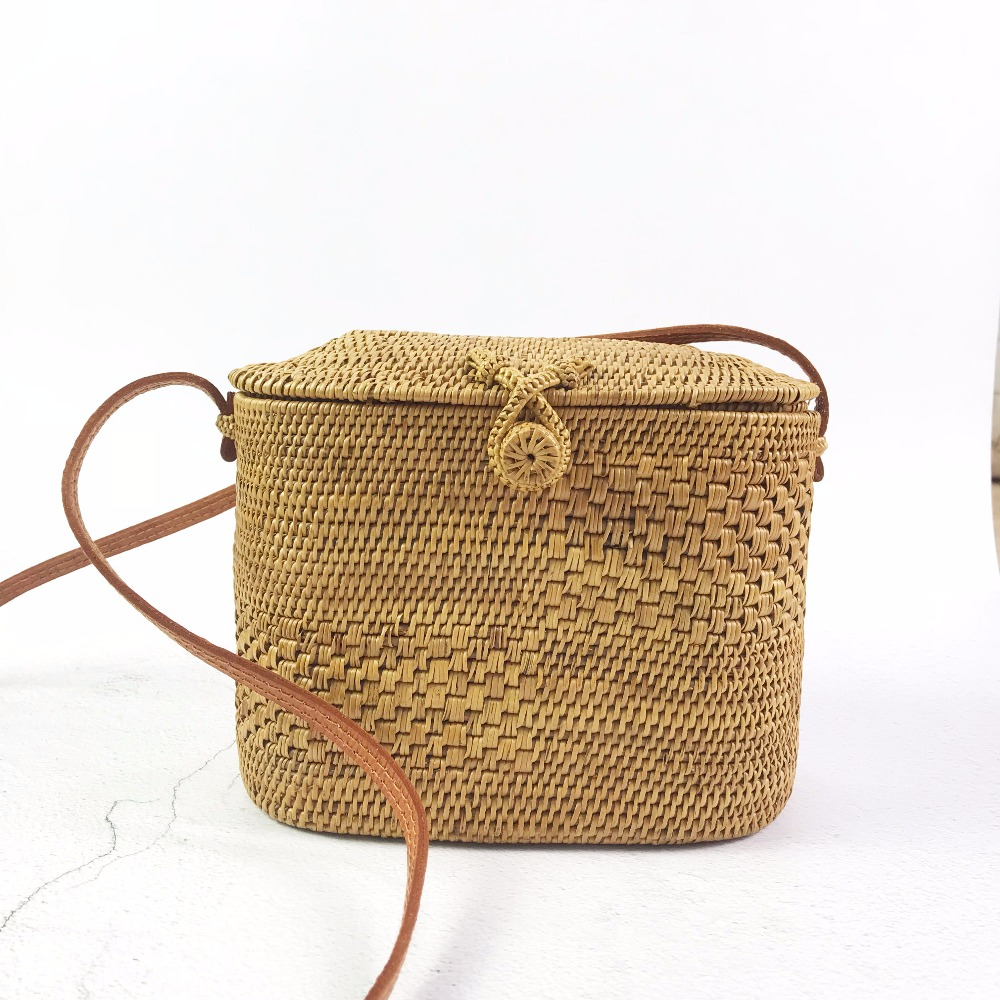 New Spring Bali Small Rattan Bags Handmade Beach Bag for Women Mini Summer Straw Bag Holiday Handbags Wicker Crossbody Bag women bohemian straw bags ladies small beach weave handbag tote handmade summer wicker basket ribbons rattan holiday travel ins