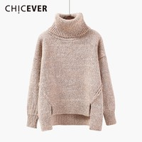 CHICEVER Autumn Winter Sweater For Women Turtleneck Long Sleeve Loose Asymmetric Hem Split Thick Warm Sweaters Fashion Clothes