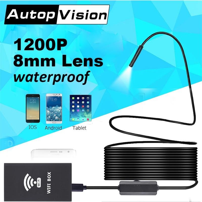 все цены на F140 8mm Lens 1200P endoscope usb car wifi wireless waterproof Wifi Semi Rigid Tube Borescope Video Inspection for Android/iOS онлайн