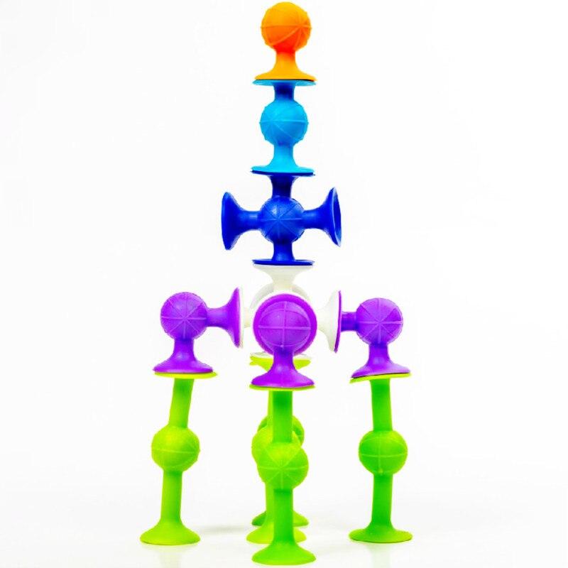 Livraison directe Pop Suckers blocs jouet en Silicone souple blocs de Construction enfants bricolage modèle Construction jouet drôle bain ventouse tasse jouets