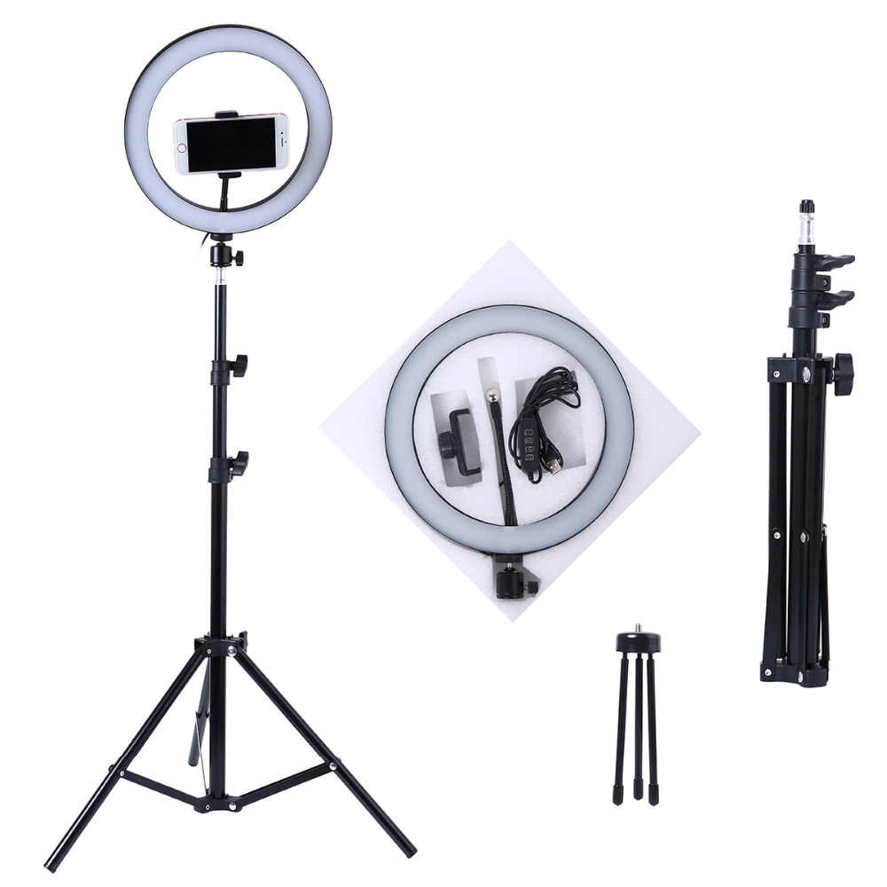 Photo LED Selfie Stick Ring Fill Light 10inch Dimmable Camera Phone Ring Lamp With Stand Tripod For Makeup Video Live Studio