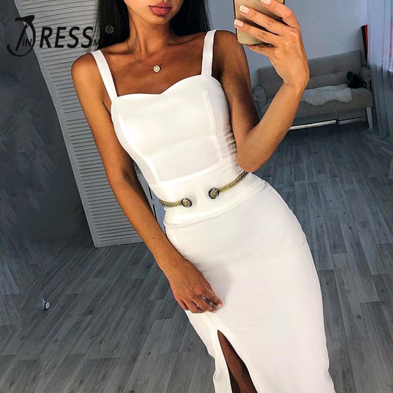 INDRESSME 2019 Women s Bandage Dress New Sexy Spaghetti Strap Square Collar Button Backless Dress Bodycon