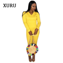 XURU New Autumn Women Jumpsuits Solid Two Piece Long Sleeve Bodycon Jumpsuit Office Lady Work Casual High Stretchy