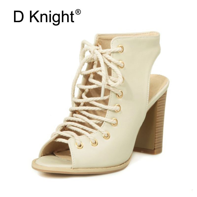 Gladiator Sandals Women Cut-outs Slingbacks Shoes Woman Lace Up 9.5CM Square High Heels Ladies Peep Toe Pumps Plus Size 33-48 new 2015 fashion lace up women pumps summer ladies high heels shoes sandals casual gladiator sandals women shoes ladies