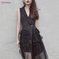 HANZANGL Women Blazer Dress Suits Black Mesh Patchwork Sleeveless Suit Vest Veil Dress Vintage Party Dresses