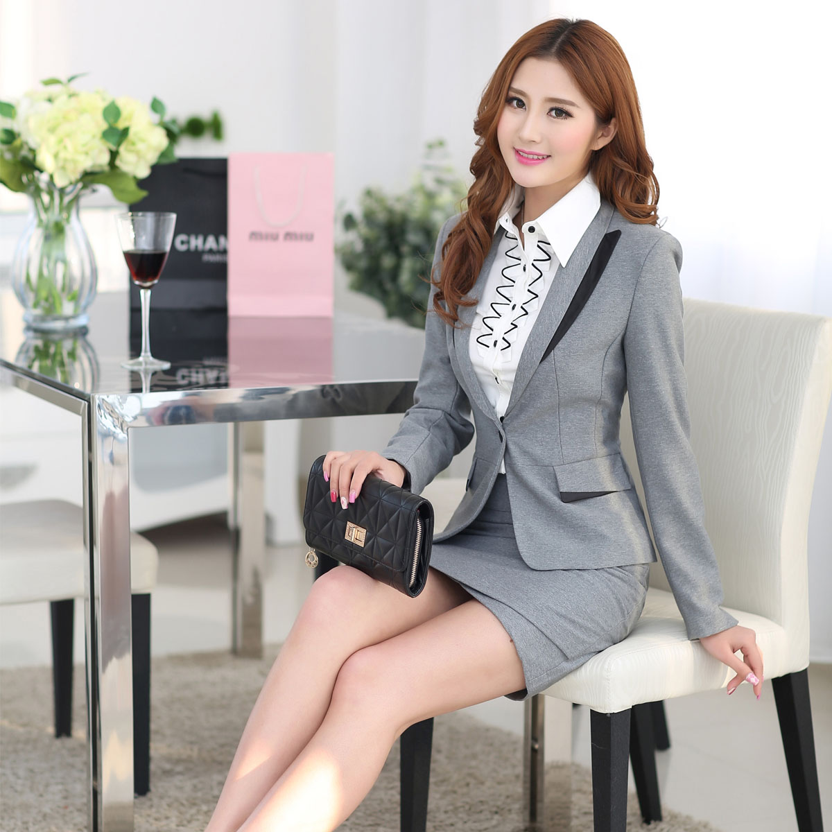 Gray Skirt Suit - Skirts