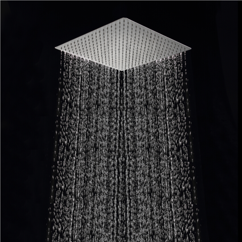 Free shipping 40cm 40cm square rainfall shower head 16 inch stainless steel ultra thin ceiling rain