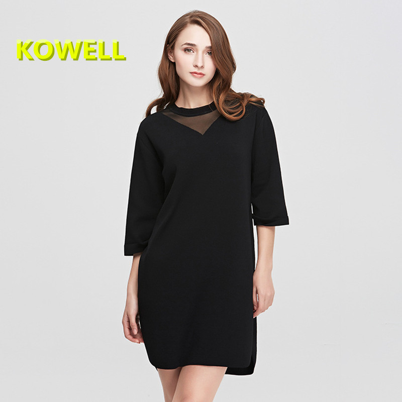 2018 Spring New Women Sweater Dress Fashion Casual Women Solid Loose O-Neck Spliced Female Half Sleeve Knee-Length Knitted Dress new arrival 2018 autumn knitted dresses fashion women long sleeve v neck knee length dress casual solid female dress clothes