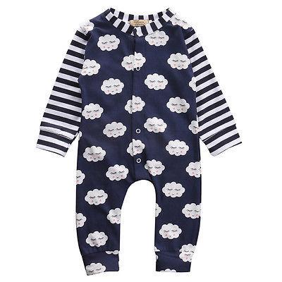 autumn Newborn Infant Baby Boy Girls Outfits Cotton Romper Cloud Jumpsuit One-pieces