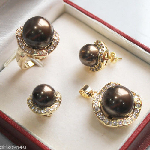 Beautiful Chocolate shell pearl yellow gold jewelery set AAA style Fine Noble real Natural NEW