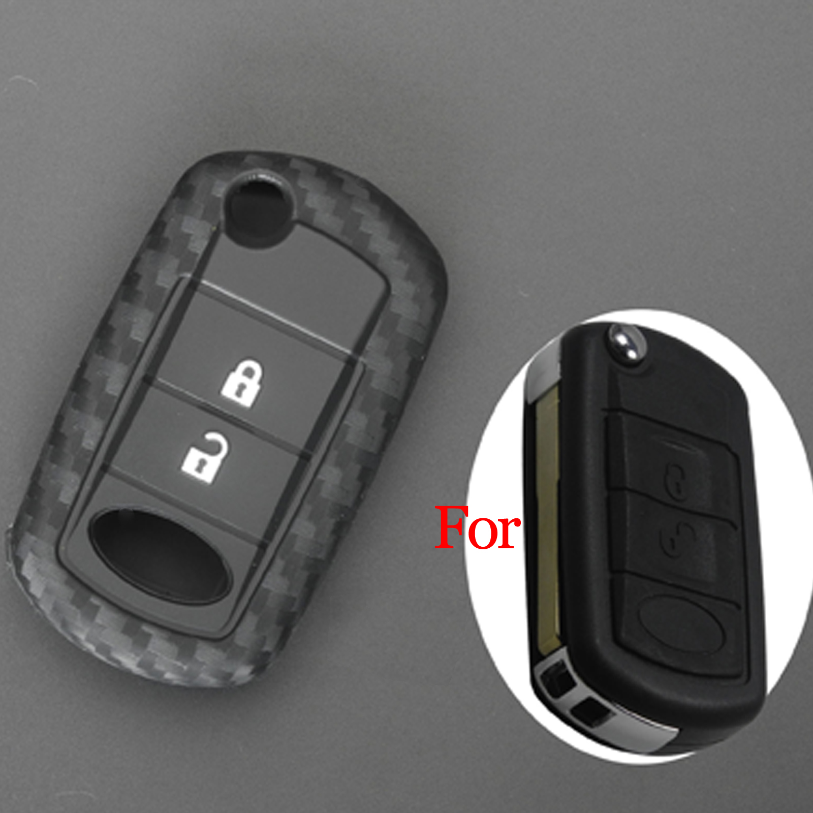 Jingyuqin Remote Silicone + Carbon Fiber Car Key Case Cover For Land Rover Range Rover Discovery Sport LR3 3 Buttons Smart Key