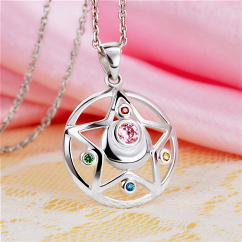 Anime Sailor Moon Prism Pendant Necklace 925 sterling silver Cosplay Necklace Pendant Halloween Christmas Gift Necklace