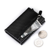 BYCOBECY 2019Fashion Coin Purse New Aluminum Box Card Wallet RFID PU Leather Card Holder Pop Up Coin Purse Magnet Carbon Fiber(China)