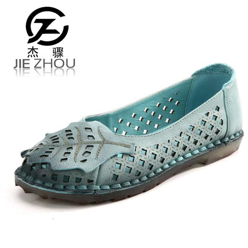 2018 Spring and autumn flat with women's shoes Genuine Leather Openwork Soft bottom mom shoes casual shoes Female Flats the spring and autumn new white shoe leather strap female flat shoes pointed deep soft bottom shoes casual student