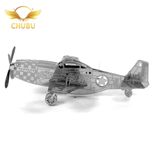 3D Metal Puzzle P-51 Mustang Aircraft Model 3D Puzzle Adult Education Educational Model Set Children's Toys