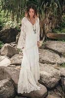 SE Runway Women's Long Beach Dress Summer Flax Hollow Out Sleeve Elegant Chiffon Dresses Embroidery Lace Robe Femme Ete