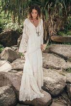 Женское длинное пляжное платье se Летнее льняное ажурное с рукавами