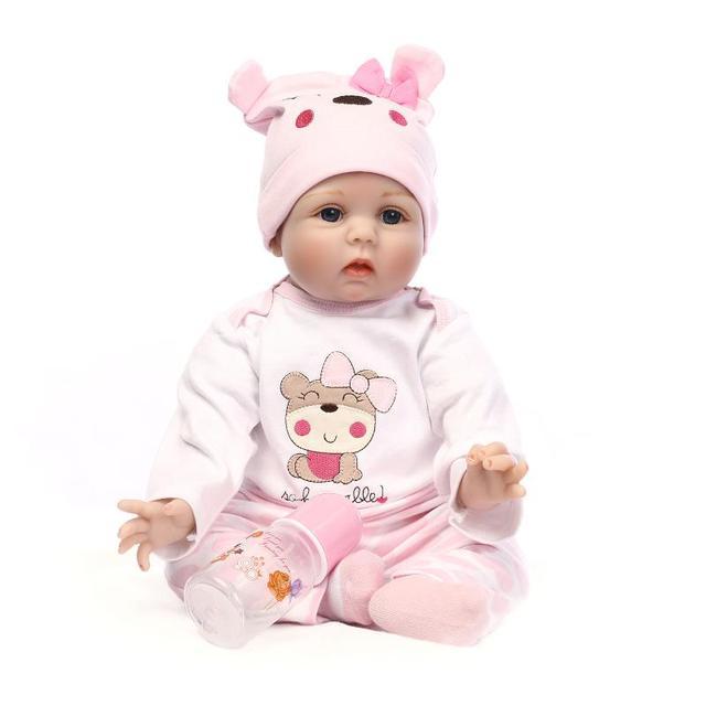 Nicery 20 22inch 50 55cm Bebe Baby Reborn Pop Zachte Siliconen Jongen Meisje Speelgoed Pop Cadeau Voor Kind Lucy Beer Kleding