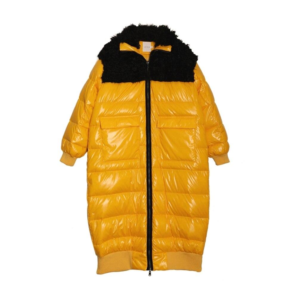 Patchwork D'agneau Veste D'hiver Bright 2018 Réel Nouvelle Longues Yellow Jaune Blanc Vif Fourrure De Noir Manteau Duvet Collection Femmes Canard qYww0cUxZT